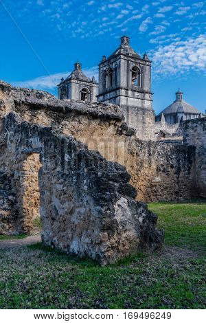 Ruins of Spanish Mission along the Missions Trail in San Antonio