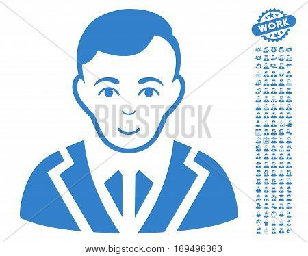 Noble icon with bonus men clip art. Vector illustration style is flat iconic cobalt symbols on white background.