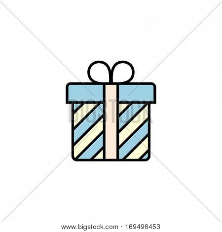 Stripped gift box with ribbon. Giftbox vector icon. Linear style