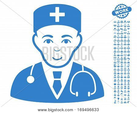 Physician pictograph with bonus human icon set. Vector illustration style is flat iconic cobalt symbols on white background.