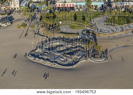 Los Angeles, California, USA - December 17, 2016:  Afternoon aerial view of Venice Beach skate park in Southern California.