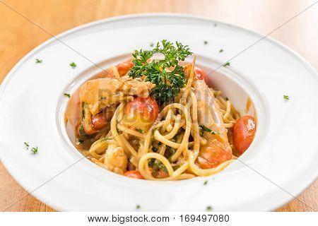 Prawn Pasta with Lobster bisque sauce