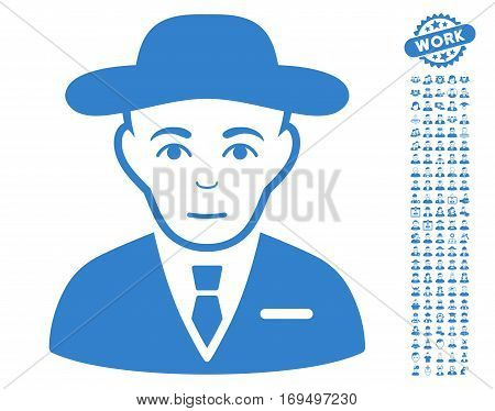 Secret Service Agent icon with bonus human pictures. Vector illustration style is flat iconic cobalt symbols on white background.