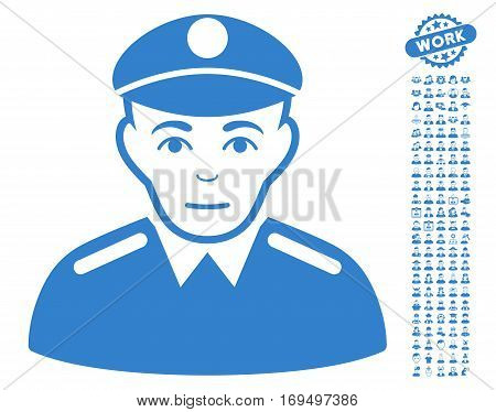 Soldier pictograph with bonus men clip art. Vector illustration style is flat iconic cobalt symbols on white background.