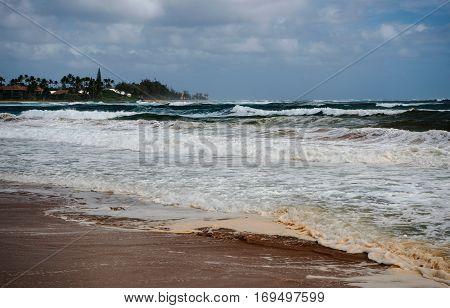 Tiny beach near the river Wailua at the east coast of Kaua'i Island Hawaii'i.