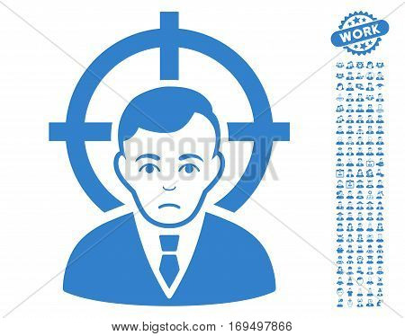 Victim Businessman icon with bonus people pictograms. Vector illustration style is flat iconic cobalt symbols on white background.