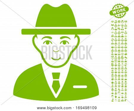 Agent pictograph with bonus men pictures. Vector illustration style is flat iconic eco green symbols on white background.
