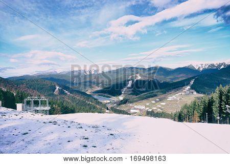 Modern resort in mountains on autumn day