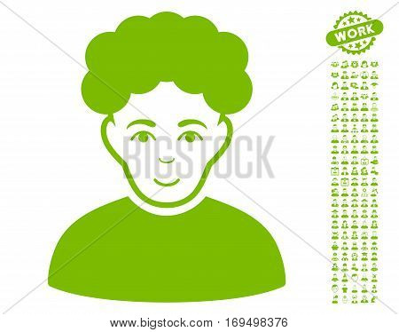 Brunet Man icon with bonus human pictograms. Vector illustration style is flat iconic eco green symbols on white background.
