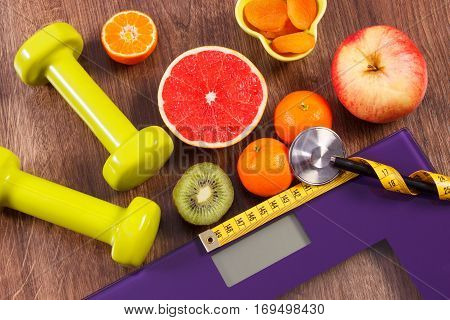 Electronic Bathroom Scale, Centimeter And Stethoscope, Fresh Fruits, Dumbbells For Fitness, Slimming