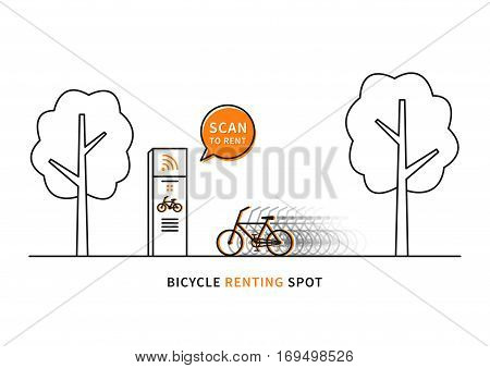 Bicycle renting spot vector illustration. Scan to rent bicycle creative concept. Bike for renting sharing graphic design.