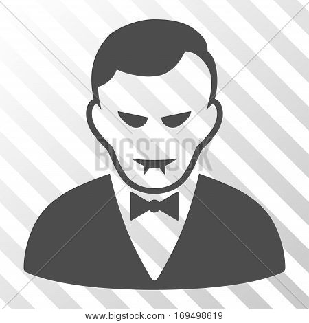 Gray Vampire toolbar pictogram. Vector pictograph style is a flat symbol on diagonally hatched transparent background.