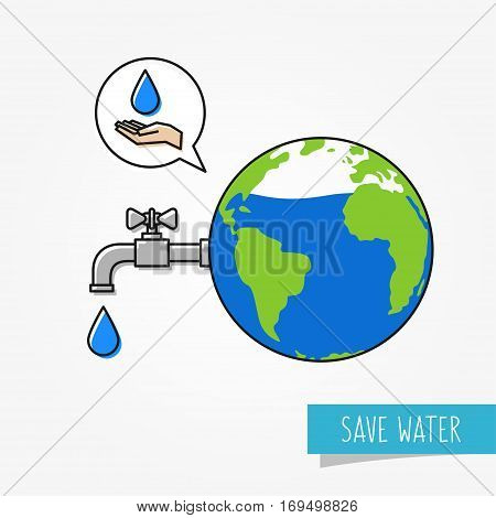 Drying planet earth vector illustration. Save water graphic design. Do not waste water creative concept. Globe with faucet and water droplet.