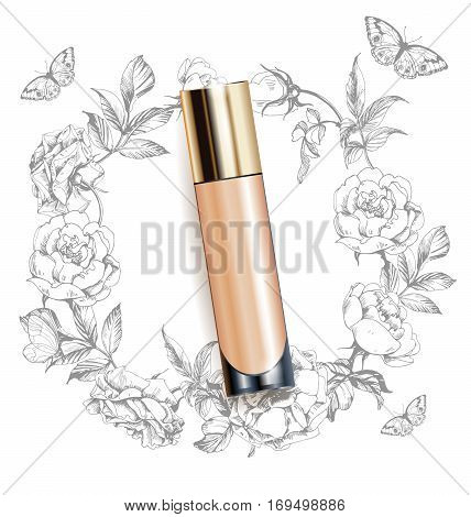 Beige realistic tube mock-up for cream dispenser, lotion, gel, medicine cream, tone cream, ointment, concealer, salve. Cosmetic vial. A wreath of painted herbs and flowers background.Template Vector.