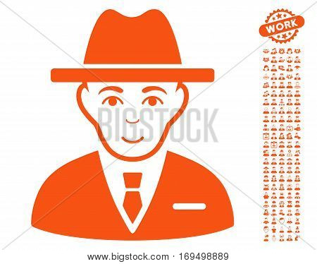 Agent icon with bonus human pictograph collection. Vector illustration style is flat iconic orange symbols on white background.
