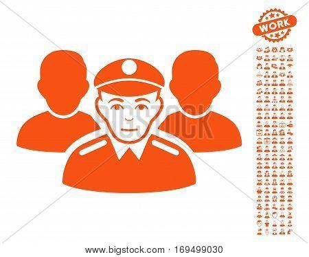 Army Team pictograph with bonus human design elements. Vector illustration style is flat iconic orange symbols on white background.