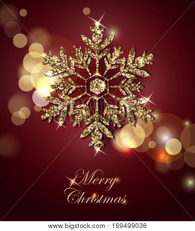 Shining Christmas Background with Shining Gold Snowflake.Christmas and New Year background with snowflakes. Merry Christmas card. Template Vector.