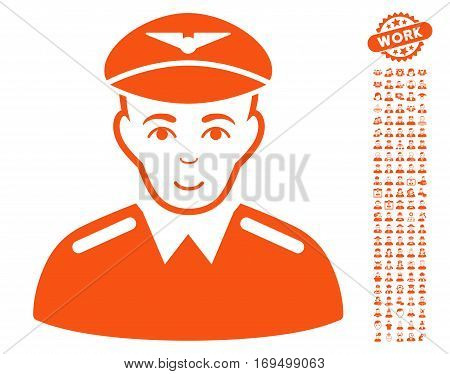 Aviator pictograph with bonus human pictograph collection. Vector illustration style is flat iconic orange symbols on white background.