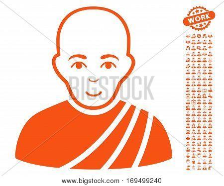 Buddhist Monk pictograph with bonus people pictograms. Vector illustration style is flat iconic orange symbols on white background.