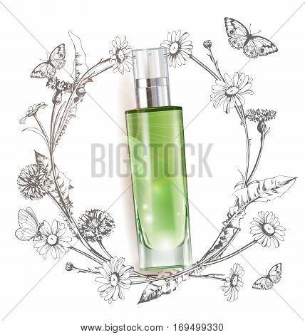 Cosmetic product, realistic tube mock-up for cream dispenser, lotion, gel, medicine cream, tone cream, ointment, concealer, salve A wreath of painted herbs and flowers background.Template Vector.