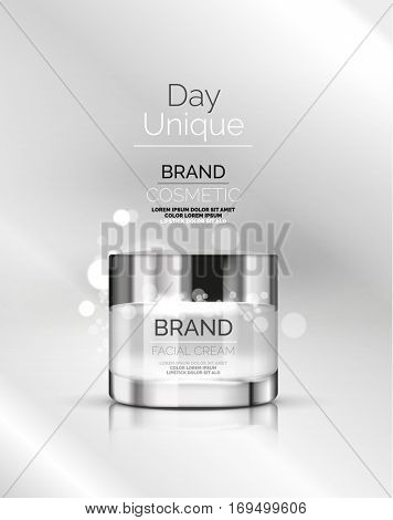 Vector premium cream ads, facial skincare brand cosmetic packaging, translucent glass cream bottle with glittering