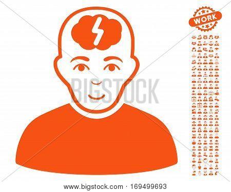 Clever Boy pictograph with bonus people design elements. Vector illustration style is flat iconic orange symbols on white background.