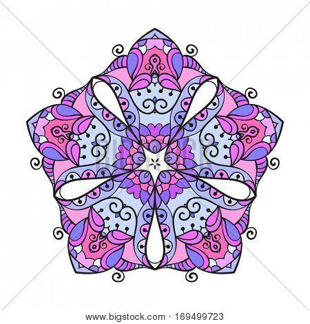 Pentagonal multicolored mandala, Isolated design element, Vector illustration
