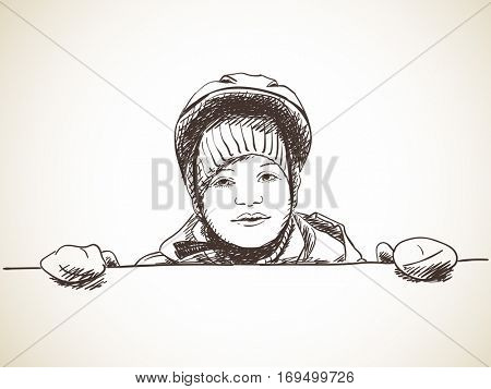Sketch of young girl wearing helmet and mittens standing behind blank wall, Hand drawn Vector illustration