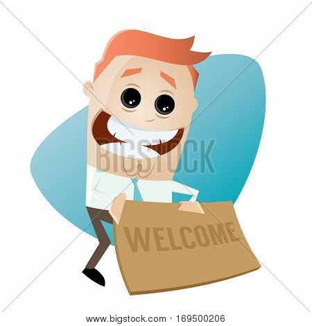 funny businessman with welcome mat