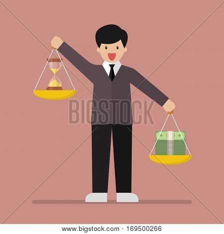Businessman balancing time and money on two weighing trays on both hands. Vector illustration