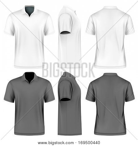 Men's slim-fitting short sleeve polo shirt. Front, back and side views of polo-shirts. White and black variants of clothes. Vector illustration. Fully editable handmade mesh.