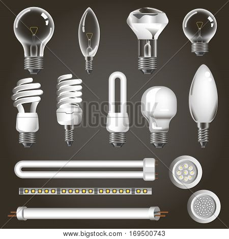 Lamp types vector 3d realistic icons of electric fluorescent neon or incandescent halogen tube, led arch or xenon diode light bulbs
