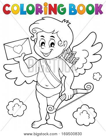 Coloring book Cupid holding envelope - eps10 vector illustration.