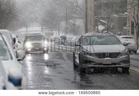 BRONX NEW YORK -JANUARY 7: Automobiles in a snowstorm. Taken January 7 2017 in New York.