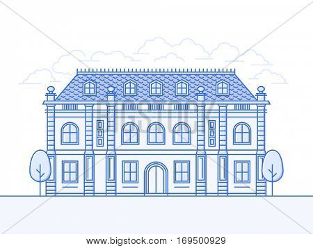 French Chateau vector icon. Architecture of medieval building
