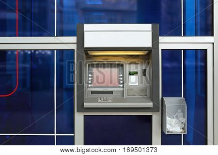 Automated Teller Cash Machine at Blue Bank Wall