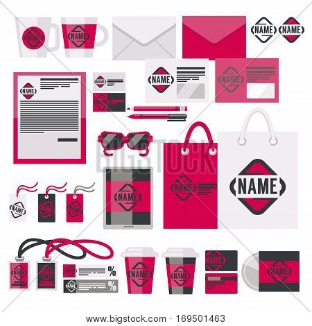Brand or corporate identity templates and company logo branded accessories or branding elements vector set