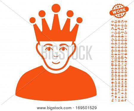 Moderator icon with bonus men icon set. Vector illustration style is flat iconic orange symbols on white background.