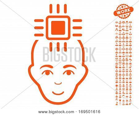 Neural Computer Interface icon with bonus occupation icon set. Vector illustration style is flat iconic orange symbols on white background.