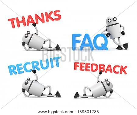 Robot is in a relaxed position holds the words - Feedback, FAQ, recruit, thanks. 3d illustration