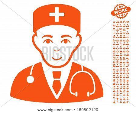 Physician pictograph with bonus avatar pictograms. Vector illustration style is flat iconic orange symbols on white background.