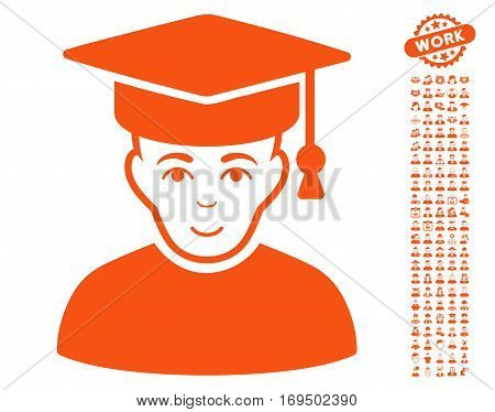 Professor pictograph with bonus occupation clip art. Vector illustration style is flat iconic orange symbols on white background.