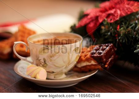 Homemade Viennese Waffles, Cup Of Coffee