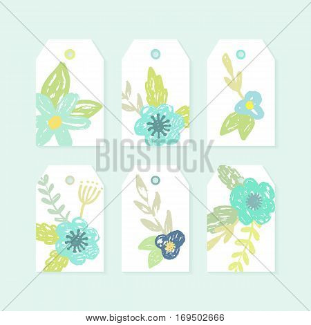 Set of decorative tags with cute flowers. Printable scrapbook elements. Vector hand drawn illustration