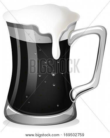 Black stout beer on white