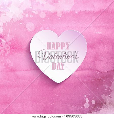 Valentine's Day heart on a watercolor wash background