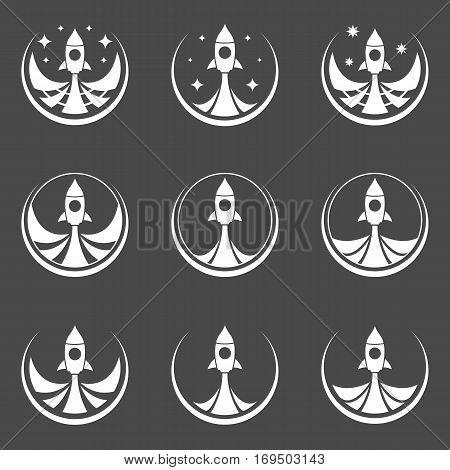 Rocket start icons. Vector illustration. Abstract rockets.