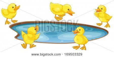 Five little ducks around the pond illustration