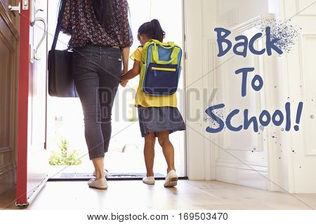 Mother And Daughter Heading Back To School