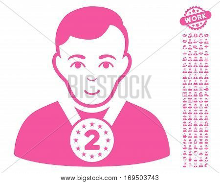 2nd Prizer Sportsman icon with bonus men graphic icons. Vector illustration style is flat iconic pink symbols on white background.